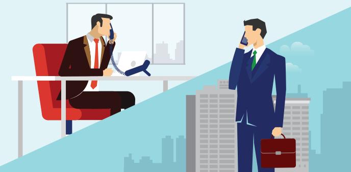 社内通話と社外通話のイメージ