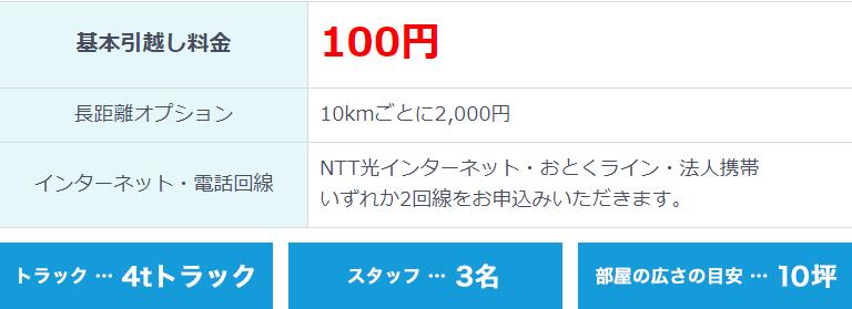 基本の引越し料金が0円